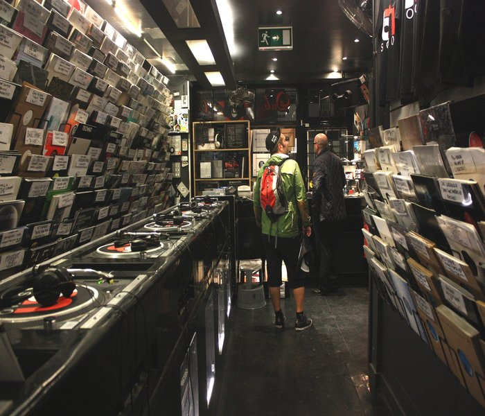 Inside Black Market records London England. Or part of it. They had a down stairsways as well