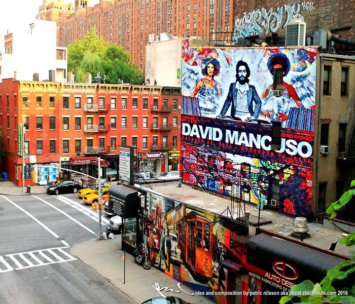A mural dedicated to the New York City, Usa Dj David Mancuso famoius for his Loft style parties in the 1970's
