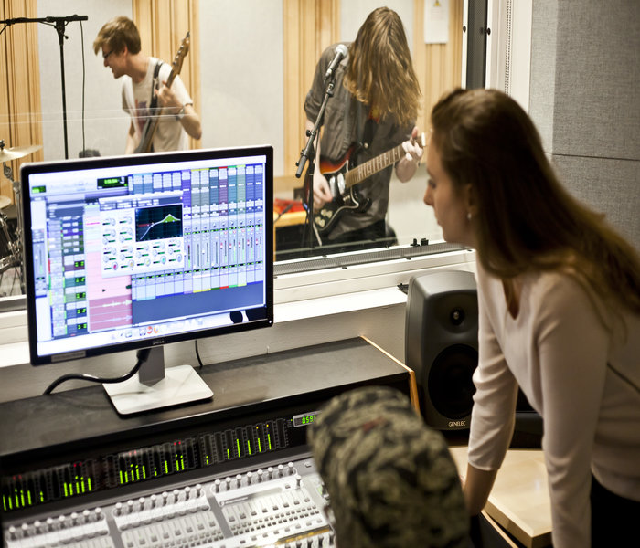 Recording a music album in a music recording studio